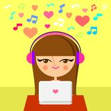 Cute girl listening to music Stock Photos