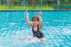 Cute girl or little child playing in swimming pool happily Royalty Free Stock Photos