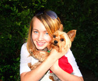 Cute Girl And Little Dog Royalty Free Stock Photos