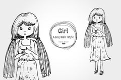 Cute girl long hair hand drawn style Royalty Free Stock Photography