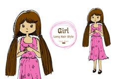 Cute girl long hair hand drawn style Royalty Free Stock Photo