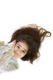 Cute girl with long hair laying Stock Photo