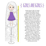 Cute girl with long hair. Little girl with long hair. Beautiful girl standing on a chair with a ruler in hand. Funny drawing of a hand. Girls are girls Stock Images