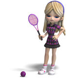 Cute girl with long hair plays tennis. 3D rendering with clipping path and shadow over white Stock Image