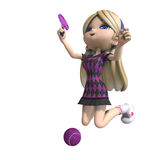 Cute girl with long hair plays tennis. 3D Royalty Free Stock Photo