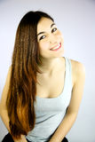 Cute girl with long hair smiling happy Royalty Free Stock Photography