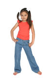 Cute girl with long ponytails Stock Photography