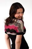 Cute girl looking back. Nice girl looking over her shoulder Royalty Free Stock Images