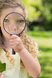 Cute girl looking through magnifying glass at park Royalty Free Stock Photos