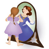 Cute girl looking at the mirror and see princess Stock Photography