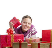 Cute girl with a lot of presents Royalty Free Stock Images