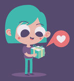 Cute Girl in Love Holding a Present Royalty Free Stock Photos