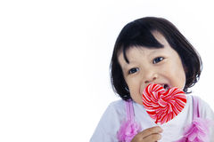 Cute girl with love lollipop Royalty Free Stock Image