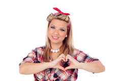 Cute girl in love with pinup style Stock Photography
