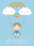 Cute girl in love on a swing and rainbow cloud, Happy Valentine's day - Vector Illustration Royalty Free Stock Image