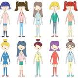 Cute Girl,Lovely Girls,Fashion Style Girl set. The vector for Cute Girl,Lovely Girls,Fashion Style Girl set Stock Photos