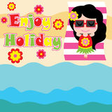 Cute girl is lying on beach  cartoon, summer postcard, wallpaper, and greeting card Royalty Free Stock Photos