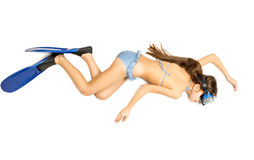 Cute girl lying on floor and pretending to do snorkeling Stock Photo