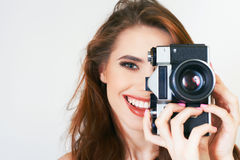 Cute Girl Make A Foto Selfie At Vintage Camera. Stock Image