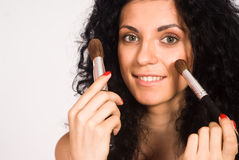 Cute Girl Making Up Stock Images