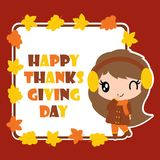 Cute girl and maple leaves frame  cartoon illustration for thanksgiving`s day card design Stock Photography