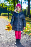 Cute girl with maple leaves walking in park Royalty Free Stock Images