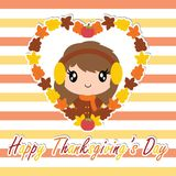Cute girl in maple leaves wreath on striped background. Cartoon illustration for thanksgiving`s day card design, wallpaper and greeting card Royalty Free Stock Image