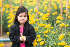 Cute girl in Marigold flower field Royalty Free Stock Photography
