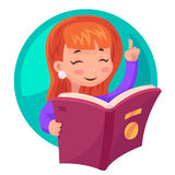 Cute Girl Mascot character reading book education  cartoon design vector illustration Stock Images
