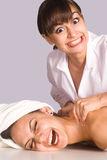 Cute girl at massage Stock Photo