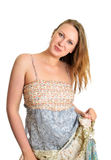 Cute girl in maxi dress Royalty Free Stock Photography