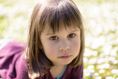 Cute  girl on the meadow in summer day Royalty Free Stock Photos