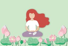 Young woman practicing meditation royalty free illustration