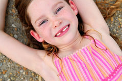 Cute Girl Missing Front Tooth Royalty Free Stock Image