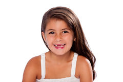 Cute girl missing teeth smiling. Beautiful cute girl happy smiling missing exchanging teeth, on white Royalty Free Stock Images