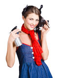 Cute girl model styling a hairdo. Pinup your hair Royalty Free Stock Images
