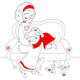 Cute girl, mom and cats. A cute girl on a divan with her mom. Under it two cats are purring. Vector illustration in white and red Stock Photo