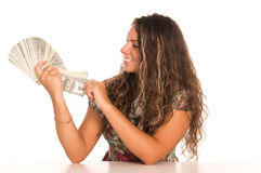 Cute girl and money Royalty Free Stock Photo