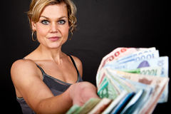 Cute girl with money bank notes Stock Photography