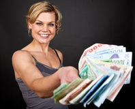 Cute girl with money bank notes Stock Image