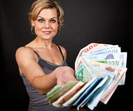 Cute girl with money bank notes Stock Photo