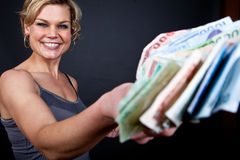 Cute girl with money bank notes Royalty Free Stock Photo