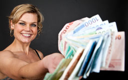 Cute girl with money bank notes Royalty Free Stock Photography