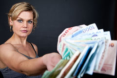 Cute girl with money bank notes Royalty Free Stock Photos