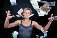 Cute girl with money bank notes Stock Images