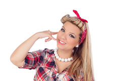 Cute girl motioning to call in pinup style Stock Images