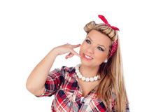 Cute girl motioning to call in pinup style Stock Image