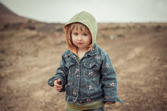 Cute girl  in the mountains Royalty Free Stock Photo