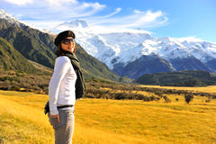 Cute girl in New Zealand. Girl with the nature of New Zealand Stock Photography