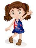 Cute girl in new zealand dress Stock Photo
